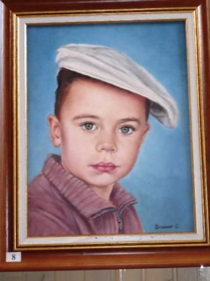 l'enfant au béret huile sur toile 5 F 25 x 37 cm