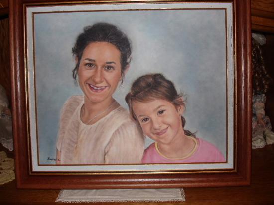 la mère et la fille huile sur toile 8 F 38 x 46 cm