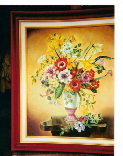 fleurs huile sur toile 8 F 38 x 46 cm (vendu)