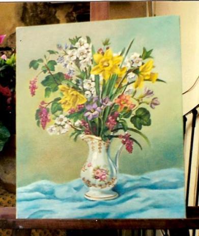 bouquet champêtre huile sur toile 8 F 38 x 46 cm (vendu)