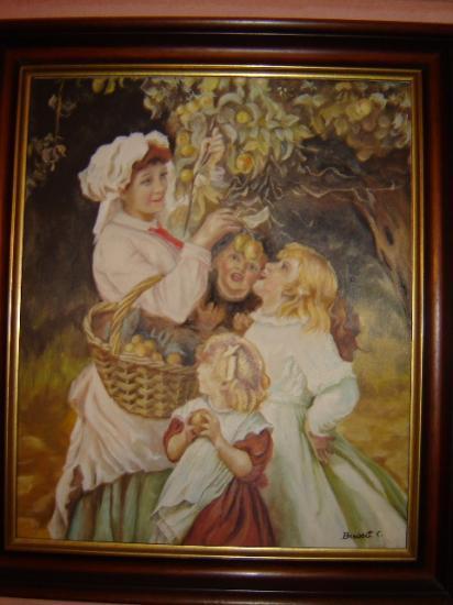 la cueillette huile sur toile cartonnée 46 x 56 cm