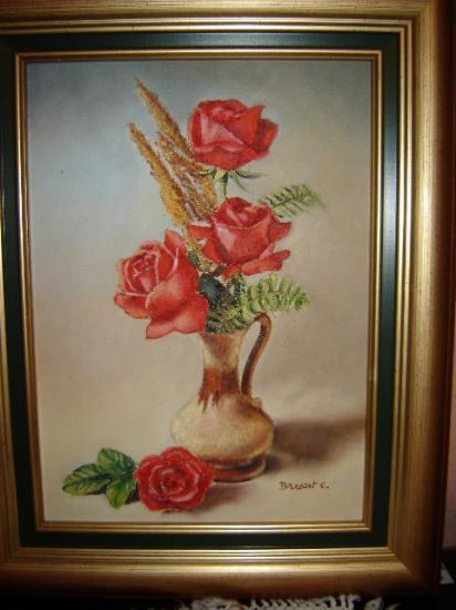 vase de roses huile sur toile 4 F 24 x 33 cm (à vendre)