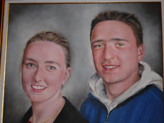 le frère et la soeur huile sur toile 8 F 38 x 46 cm