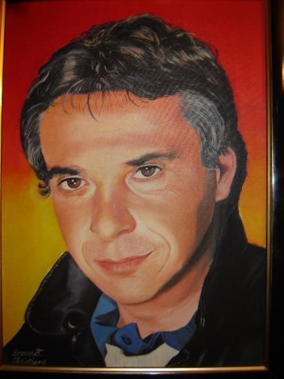 Michel Sardou huile sur toile cartonnée 33 x 46 cm (à vendre)