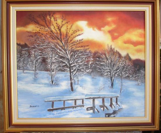coucher de soleil sous la neige