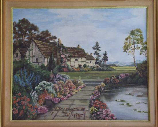 le mas fleuri huile sur toile 10 F 46 x 65 cm (réservé)
