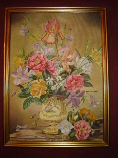 bouquet de fleurs huile sur toile 8 P 33 x 46 cm