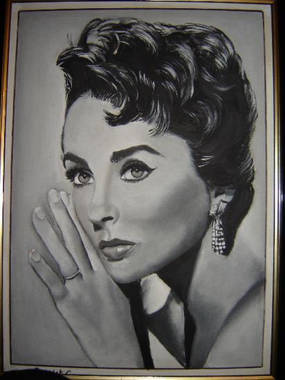 Elizabeth Taylor gouache sur toile cartonnée 33 x 46 cm (à vendre)