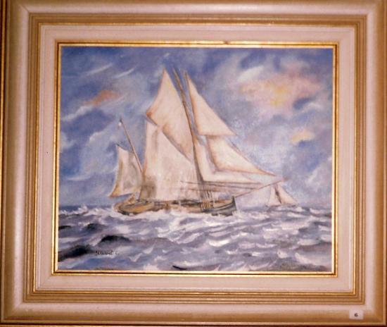 Voilier dans la tourmente  huile sur toile  F10  55 x 46 cm  (vendu)