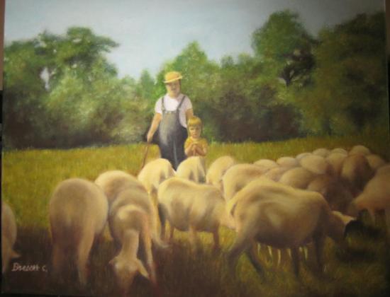 les moutons huile sur toile 6 F 41 x 33 cm (vendu)
